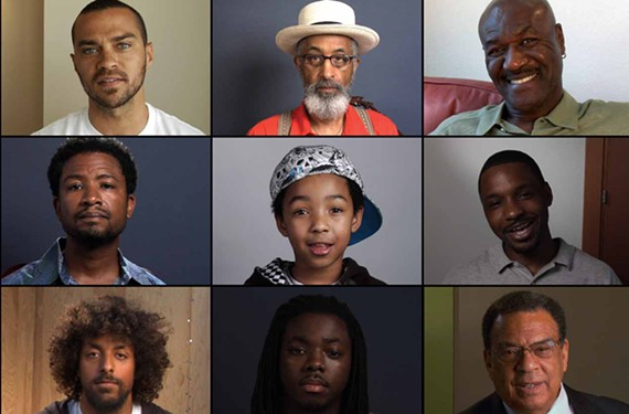 "Stills from the ""Question Bridge"" documentary show black men in conversation with each other on normally unspoken issues. ""Our intention, very implicitly, is to change the way black male consciousness is perceived in this country,"" organizer Chris Johnson says."