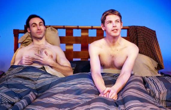 "Strange bedfellows: Nicholas Wilder and Nick Baldock get a rude awakening in ""2 Boys in a Bed on a Warm Winter's Night."" - JOHN MACLELLAN"