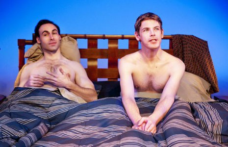 "Strange bedfellows: Nicholas Wilder and Nick Baldock get a rude awakening in ""2 Boys in a Bed on a Warm Winter's Night."" - JOHN MACLELLAN"