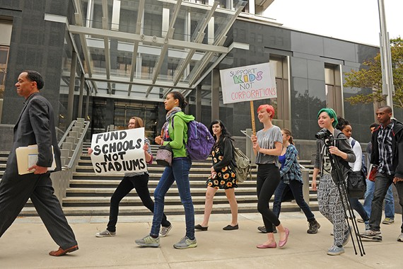 Students from Richmond Public Schools took to City Hall April 28 to protest for more funding.