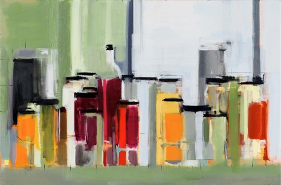 """Subtle order: Peri Schwartz's abstract oils (such as """"Bottles and Jars XXII,"""" above) and B. Millner's moving realist works (such as """"White Door,"""" below) compliment each other in a new dual exhibit at Page Bond Gallery."""
