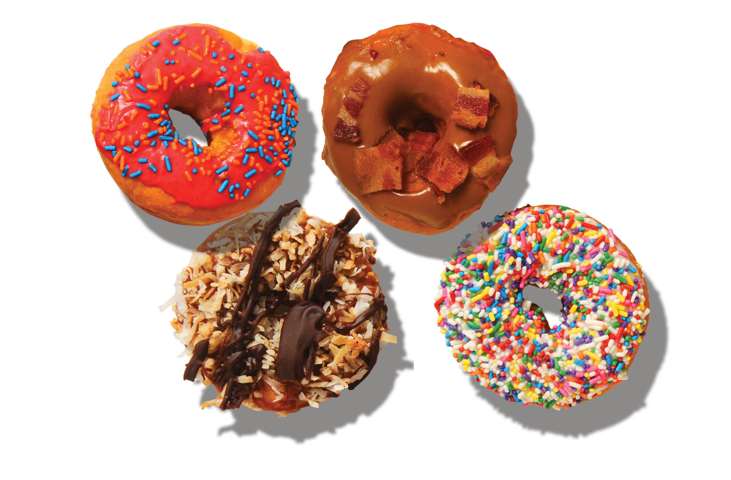 Sugar Shack Donuts makes the raspberry with sprinkles and maple with bacon yeast doughnuts in its new space in Carver. Dixie Donuts does a cake-style tribute to the samoa cookie and a sprinkles version in Carytown, among many other flavors. - SCOTT ELMQUIST