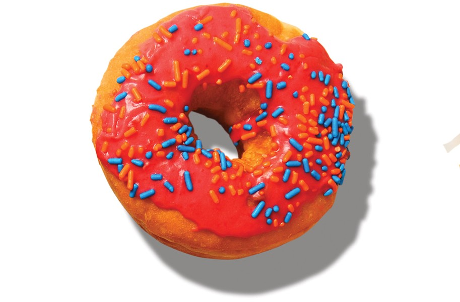 Sugar Shack Donuts' raspberry with sprinkles.