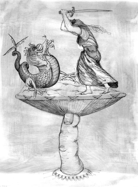 Surrealist Salvador Dali's proposed monument to Confederate Capt. Sally Tompkins would have been a play on St. George slaying the dragon. This sketch of the never-built sculpture was drawn in 1966 by Bill Wynne, a Richmond art director. - VIRGINIA HISTORICAL SOCIETY