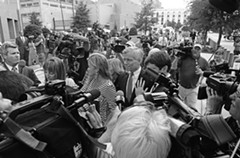 Surrounded by family members and reporters, former Gov. Bob McDonnell arrives at the federal courthouse Sept. 4 to hear the verdict in the corruption case against him. - SCOTT ELMQUIST