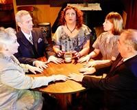 "Swift Creek's production of ""Blithe Spirit"" perfectly captures Noël Coward's dry, sophisticated tone. From left, Jacqueline Jones, Richard Koch, Amy Berlin, Vivki McLeod and John Stork Maddox."