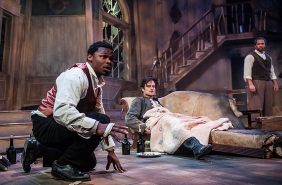 """Taamu Wuya as John, Max Eddy as Caleb and Jerold Solomon as Simon in Virginia Rep's powerful drama """"The Whipping Man"""" set in the aftermath of the Civil War."""