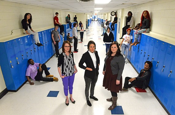 Teachers Sarah Marcellin, Nelly Kate Anderson, and Elizabeth Claud are helping students at Chesterfield Community High School, once was known as Carver High School, to examine the past.