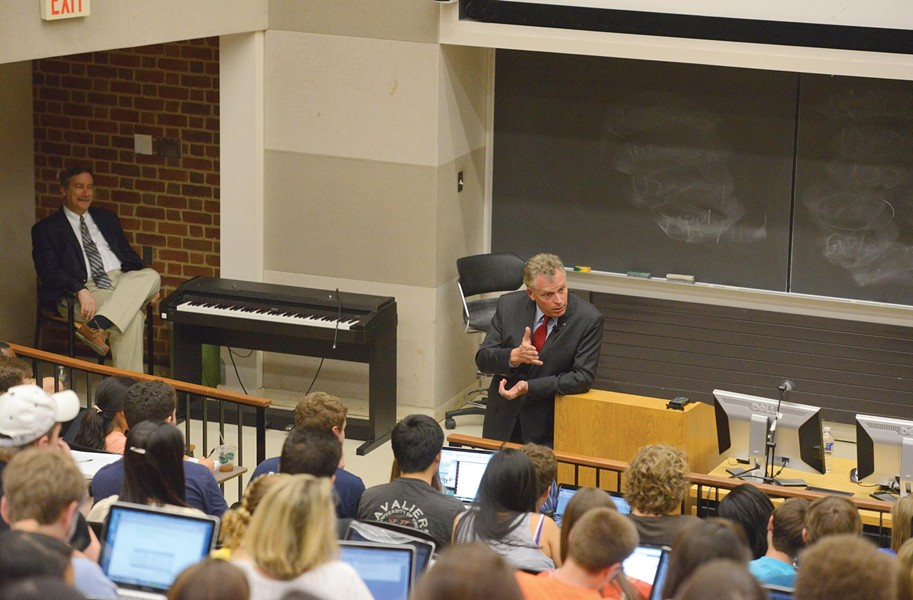 Terry McAuliffe speaks to a political science class last week at the University of Virginia as longtime professor Larry Sabato looks on. - SCOTT ELMQUIST
