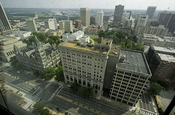 The architecturally distinguished Virginia General Assembly Building, its attached structures at right, complement Old City Hall at left to establish a handsome urban wall along East Broad Street.