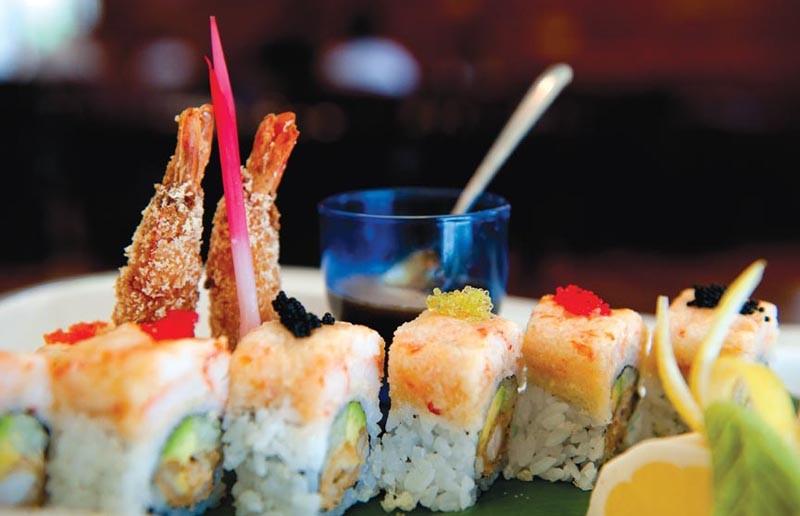 The Asian Galaxy's self-named roll has shrimp tempura, cucumber, avocado, lobster salad and tobiko for $12.95. - SCOTT ELMQUIST