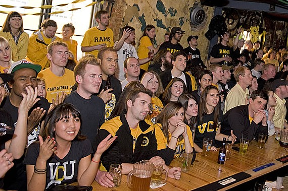 The bar crowd at Bellytimber Tavern gets deep during the Butler game. - ASH DANIEL