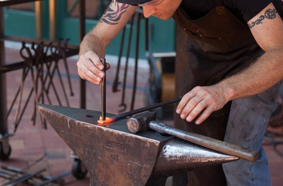 The blacksmith and mosaic artistry of Phoenix Handcraft was on display at the first RVA Makerfest.