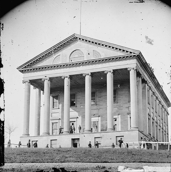The Capitol as it appeared at the end of the Civil War before the front steps and legislative wings were added. - THE LIBRARY OF CONGRESS