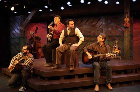 """The cast of Virginia Repertory Theater's """"Cotton Patch Gospel"""" works with great songs written by folk rock musician Harry Chapin just before his death in 1981 from a heart attack while driving on the Long Island Expressway. - JAY PAUL"""
