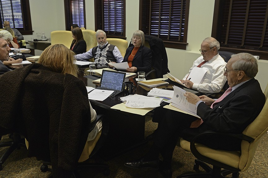The Economic Development Authority met Thursday, including board member Richard Johnson, middle, and chairman Julious Smith, right. - SCOTT ELMQUIST