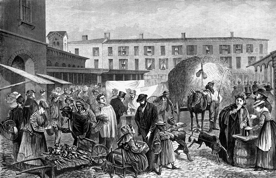 The Farmers' Market by the 20th century remained the center of a multi-cultural neighborhood, at far right as depicted in a 1868 illustration in Harper's Weekly. - LIBRARY OF CONGRESS