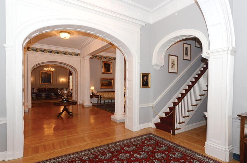 The first floor, curved stairway archway was added in the 1920s by Gov. Harry F. Byrd who also had the former kitchen house restored. - SCOTT ELMQUIST