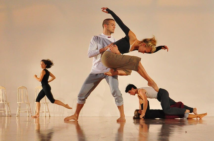 "The Ground Zero Company rehearses Pam England's ""Wake,"" which will premiere at the ""Only Connect"" performance this week.  Dancers are, from left, Amy Page Wilhelm, Beau Dobson, Allison LaNeave, Ryan Smith and Victoria Fink. - CARLOS FUNN"