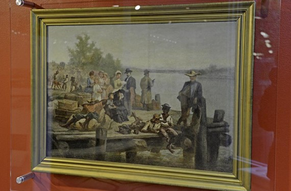 """The idyllic scene in """"Waiting for the Boat,"""" an 1880 oil painting by John Adams Elder, belies the carnage of the Civil War only 15 years earlier."""