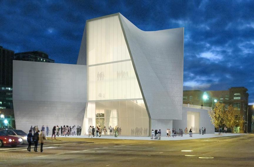The Institute for Contemporary Art at VCU, shown here in a rendering, will make a bold statement at an intersection now home to a parking lot and gas stations.
