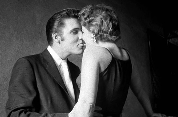 """""""The Kiss,"""" shows Elvis Presley and Barbara Gray in an intimate clinch. For more than five decades, no one knew who Gray was. """"People were looking for a tall woman,"""" she says today. """"But, actually, I was standing on a step above him."""""""
