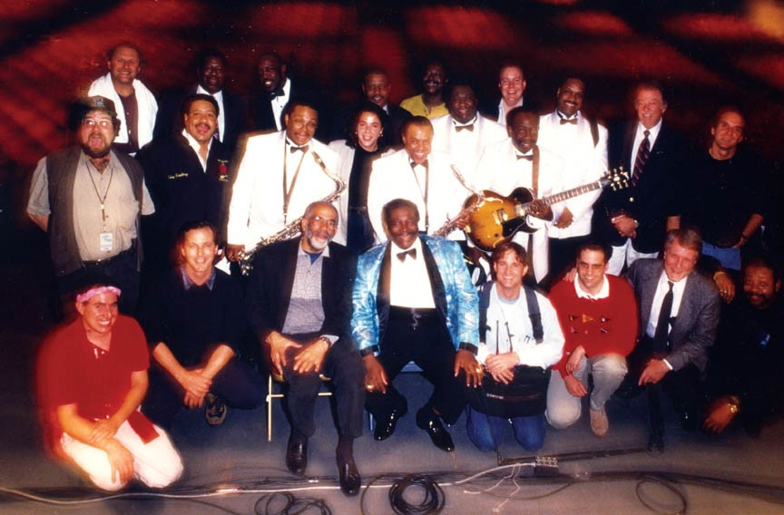 The late CBS correspondent Ed Bradley sits left of B.B. King, with the blues star's band and producer Roberta Oster Sachs standing behind them. King is scheduled to perform in Richmond next week. Bradley died from leukemia in 2006. - ROBERTA OSTER SACHS