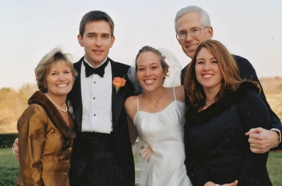 The late Richard Sharp, in glasses, at the wedding of daughter April Garnett in 2000. From left: his wife, Sherry Sharp, with Scott Garnett, April Garnett and Donna Sharp Suro.