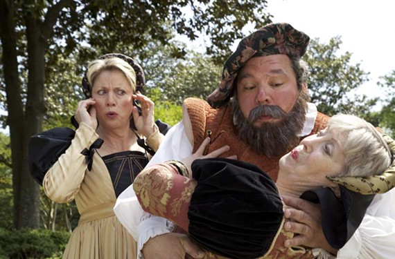 The merry wives — Melissa Johnston Price and Cynde Liffick — fend off the advances of Falstaff (Todd Schall-Vess) in Richmond Shakespeare's latest production. - DAVE WHITE