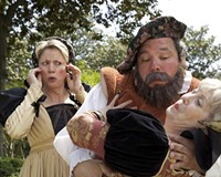 The merry wives — Melissa Johnston Price and Cynde Liffick — fend off the advances of Falstaff (Todd Schall-Vess) in Richmond Shakespeare's latest production.
