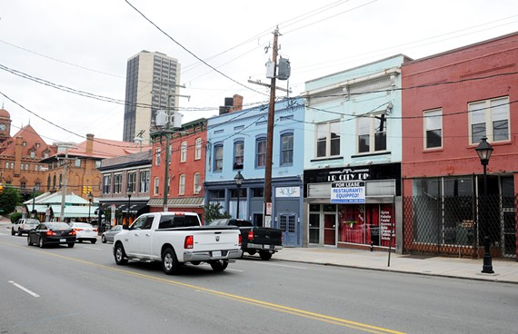The north side of the 1700 block of East Main Street, shown here in a modern photo, and the south side of the block shown in a historical view below, were centers of both Jewish family and business life. - SCOTT ELMQUIST
