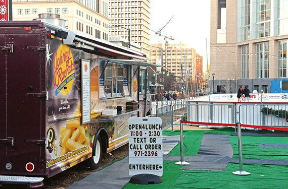 The only food truck at RVA On Ice is the Johnny Rockets franchised that served the Redskins Training Camp. Richmond's independent food truck operators were frustrated to learn they were again shut out of a city-sponsored initiative.