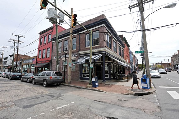 The owners of Café Gutenberg, one of Shockoe Bottom's most visible restaurants at 17th and Main streets, are seeking buyers. - SCOTT ELMQUIST