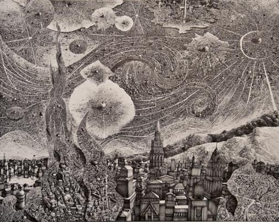 "The pen-and-ink ""What Says The Deep Midnight"" is one of the detailed imaginary cityscapes in the new show by VCU graduate Benjamin Sack."