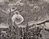 """The pen-and-ink """"What Says The Deep Midnight"""" is one of the detailed imaginary cityscapes in the new show by VCU graduate Benjamin Sack."""