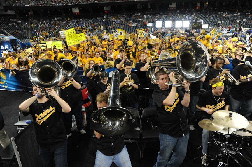 The Peppas rattle the rafters at Virginia Commonwealth University's game with Butler University. The Rams' pep band already had won the Final Four competition for such musical groups. - SCOTT ELMQUIST