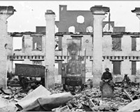 The Richmond and Petersburg Railroad depot near Eighth and Byrd streets after the evacuation fire of 1865.