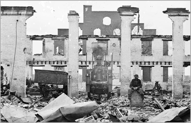 The Richmond and Petersburg Railroad depot near Eighth and Byrd streets after the evacuation fire of 1865. - THE LIBRARY OF CONGRESS