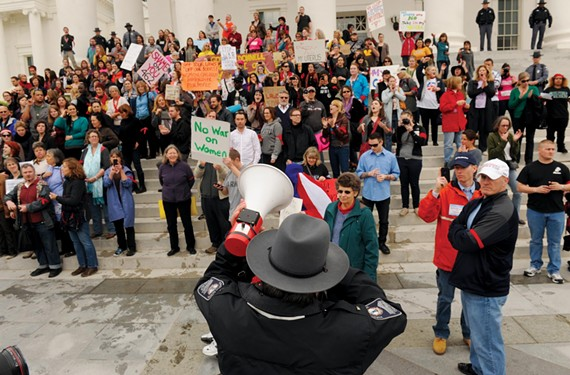 The silence was broken on March 3, when hundreds of women took their protest to the steps of the Capitol, in a showdown with Capitol police and state troopers. - SCOTT ELMQUIST