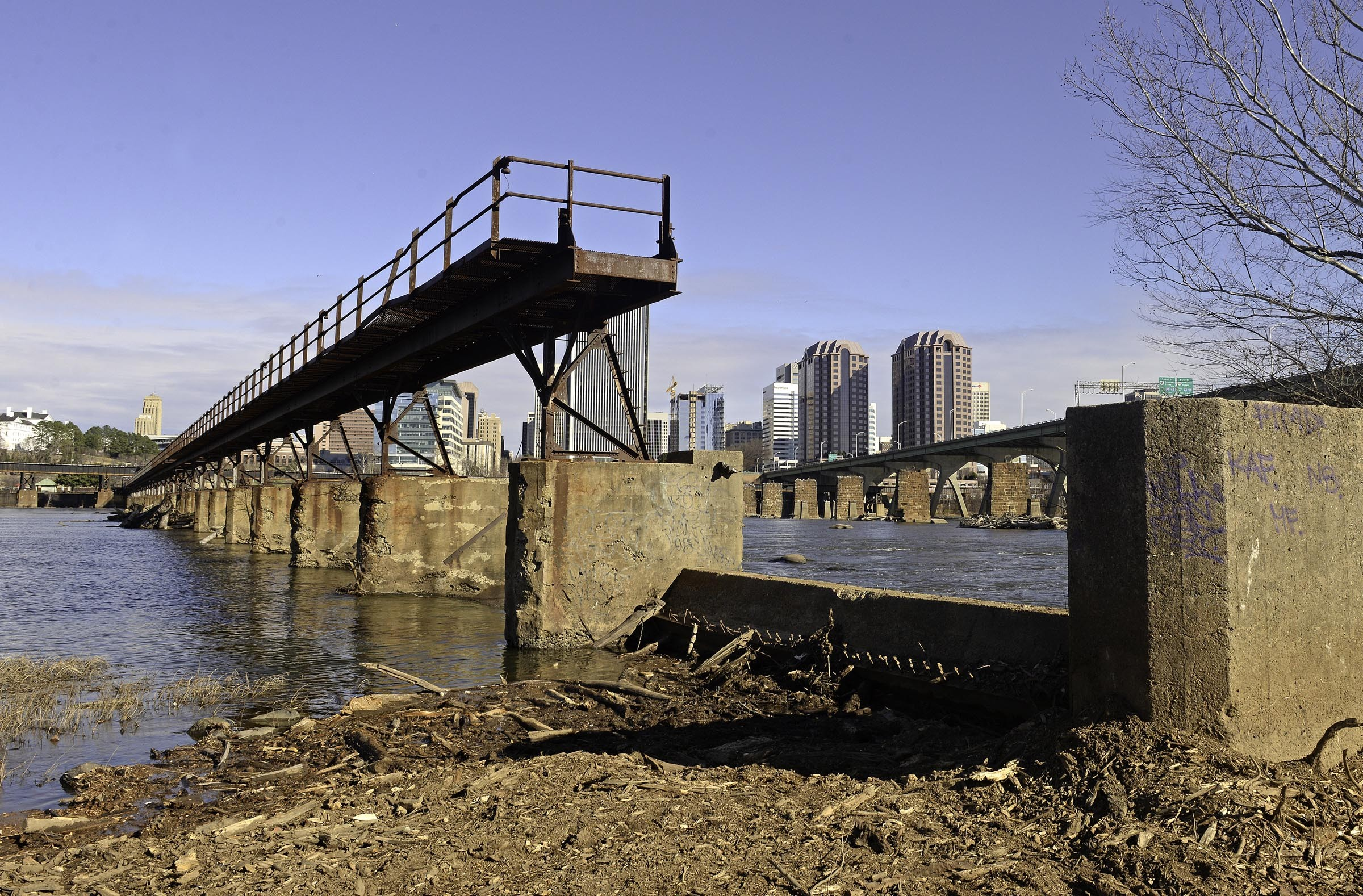 The site of a future pedestrian bridge over the James River, which City Council approved in 2014. - SCOTT ELMQUIST
