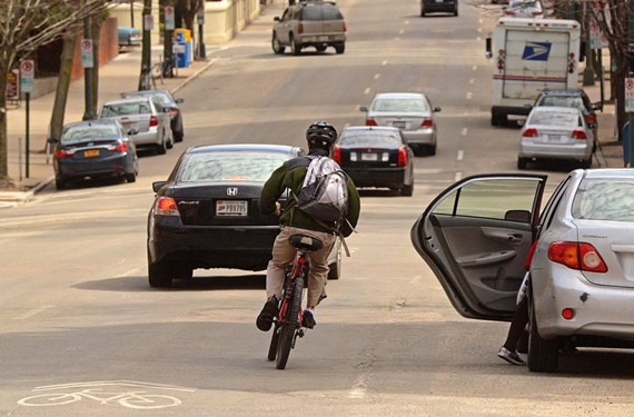 The state's giving the city a temporary break on its road funding formula. Until recently, a project that would put protected bike lanes on Franklin and Main streets would cost the city almost $40,000 in expected funding.