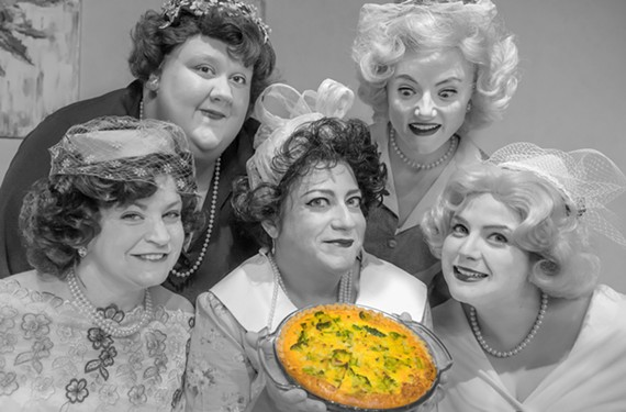 """The Susan B. Anthony Chapter of the Sisters of Gertude Stein — Jennifer Frank, Danielle Williams, Amy Berlin, Liz Earnest and Maggie Bavolack — celebrate the winning entry at their annual breakfast in """"5 Lesbians Eating a Quiche"""" at Richmond Triangle Players."""