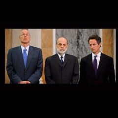 The Three Stooges of the Apocalypse: Former Treasury Secretary Henry Paulson, Federal Reserve Chairman Ben Bernanke and current Treasury Secretary Timothy Geithner are not ready for their close-ups.