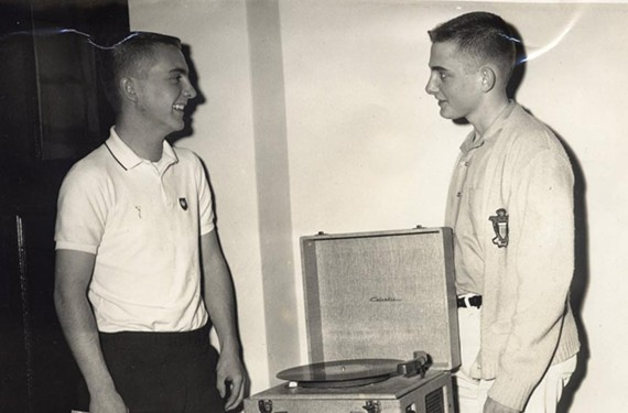 """""""The Two Tonys"""" Booth's radio odyssey began at the age of 13 in Paris, Texas. Here he is, standing (right) with high school classmate Tony Laurence, who also went into professional broadcasting."""