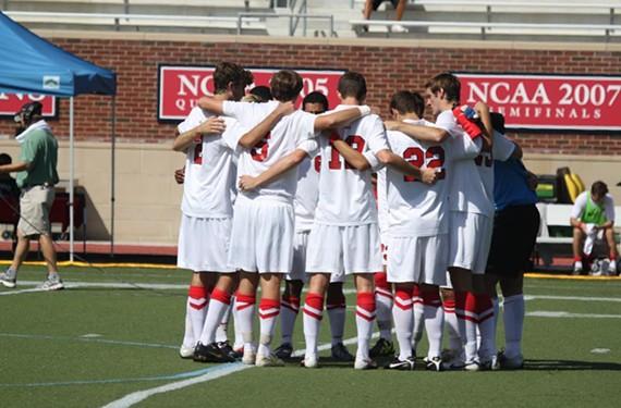 The University of Richmond men's soccer team huddles before the start of its Oct. 9 game against St. Joseph's University last year. - ANDREW PREZIOSO