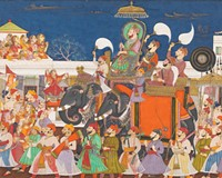 """The Virginia Museum of Fine Arts is the only East Coast venue to feature the stunning traveling exhibit, """"The Maharaja: the Splendor of India's Royal Courts."""" On display are fascinating examples of Indian art and jewelry, from paintings such as """"Procession of Ram Singh II of Kota"""" to functional objects like the mid-18th century turban ornament pictured below."""