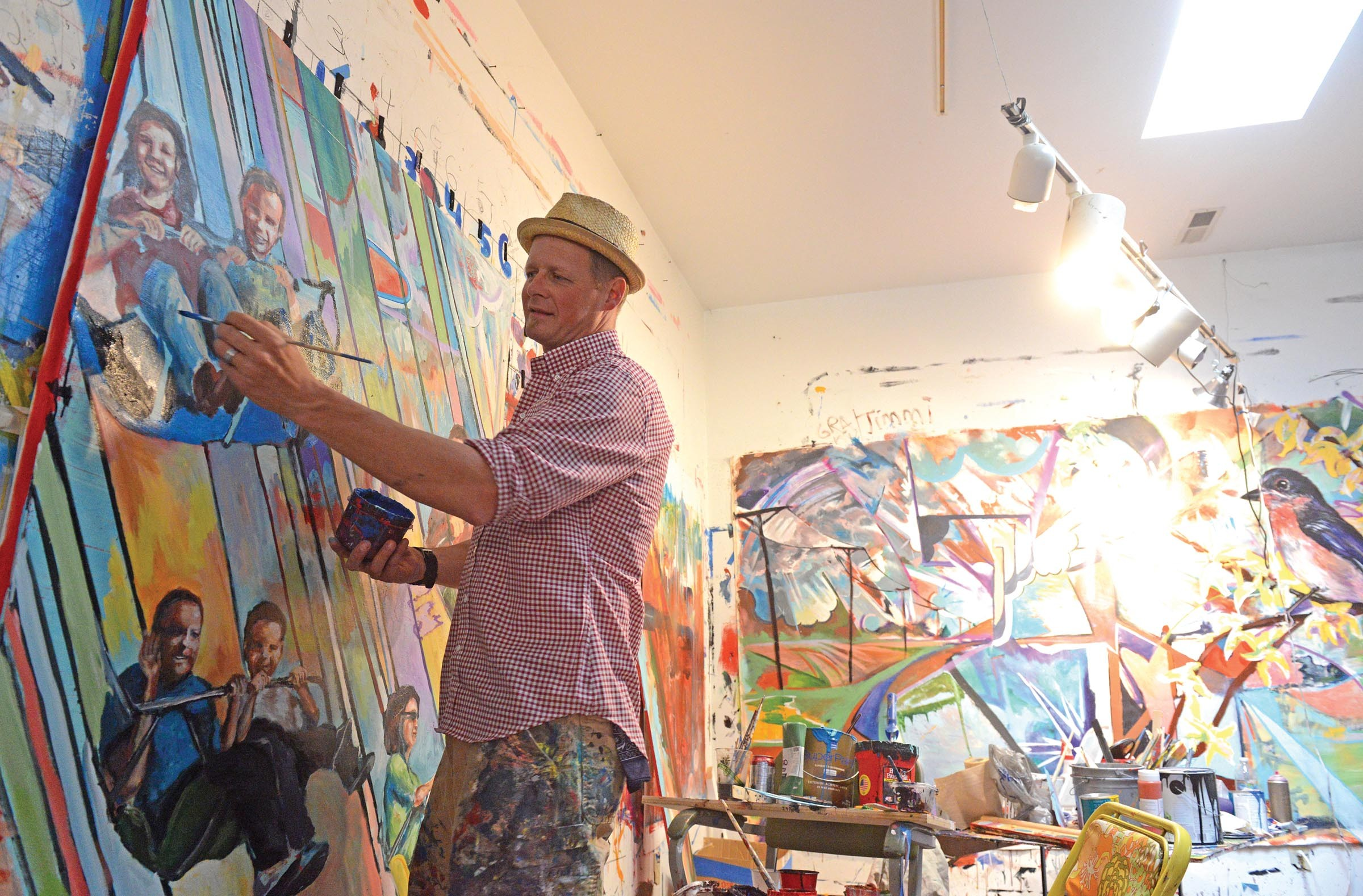 The walls of Trask's studio are covered by work in various stages of completion. - SCOTT ELMQUIST