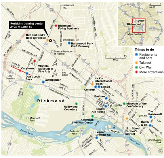 The Washington Post produced this map to guide tourists to Richmond attractions and hot spots. Help us make a better one.