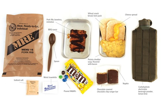 These are the contents of a military ration meal kit ($6). - SCOTT ELMQUIST