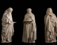 These solemn alabaster mourners from the tomb of John the Fearless are currently on view at the Virginia Museum of Fine Arts.